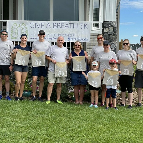 Tim Monds surrounded by family and friends as they kicked off their Give a Breath walk in support of lung cancer research.