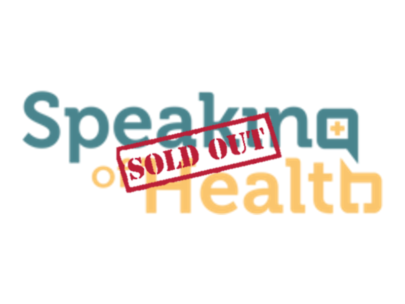 Speaking of Health logo with a 'sold out' sign